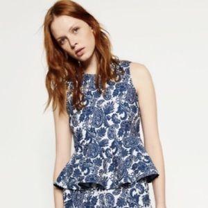Zara Paisley Peplum Top Size XS- o7